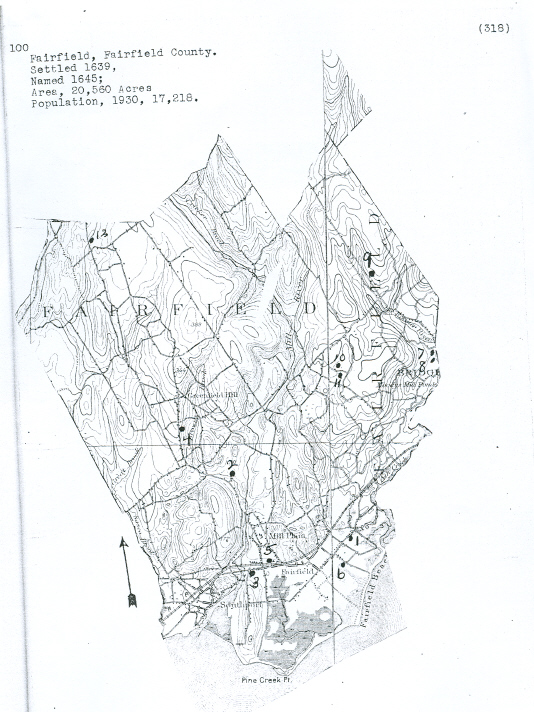 Fairfield, Connecticut Cemetery Map from the Hale Collection of Cemetery Records