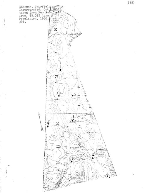 Sherman, Connecticut Cemetery Map from the Hale Collection of Cemetery Records