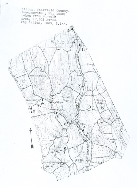 Wilton, Connecticut Cemetery Map from the Hale Collection of Cemetery Records